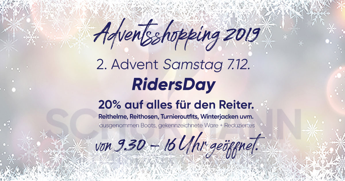 Ridersday am 1. Adventssamstag 20% Rabatt